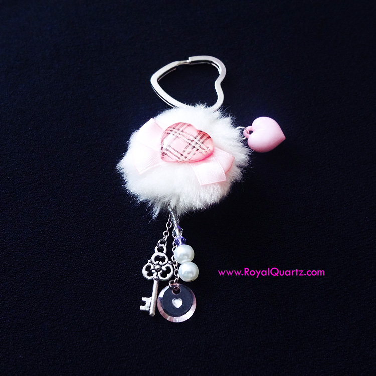 Small Heart Puff Keychain by Royal Quartz